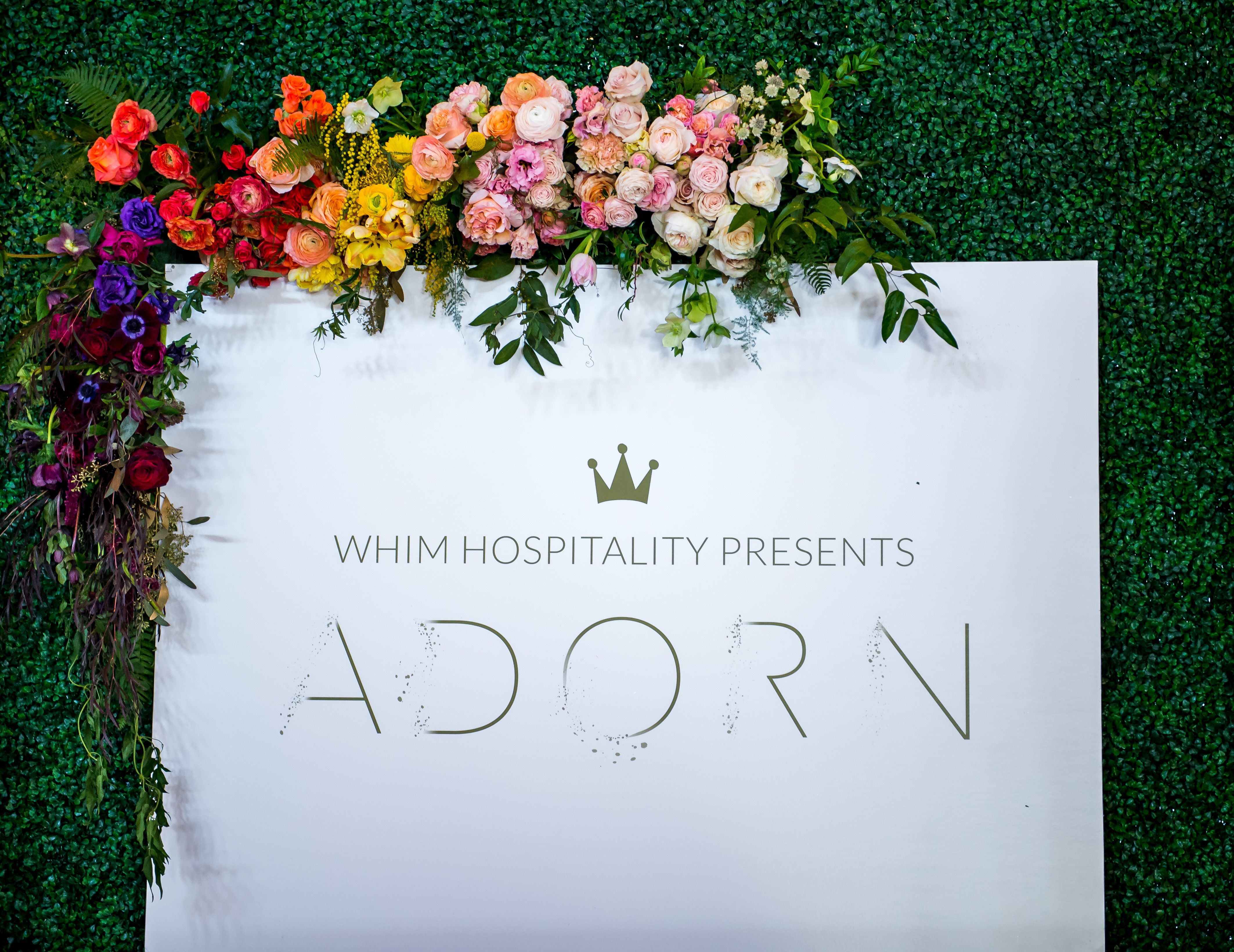 Whim Florals | Colorful Ombre Floral Design | Parrot tulips, Acacia, Anemones, Garden Roses, Ranunculus, Sweet Peas, Umbrella Fern, Lisianthus, Chocolate Queen Anne's Lace, Daffodils