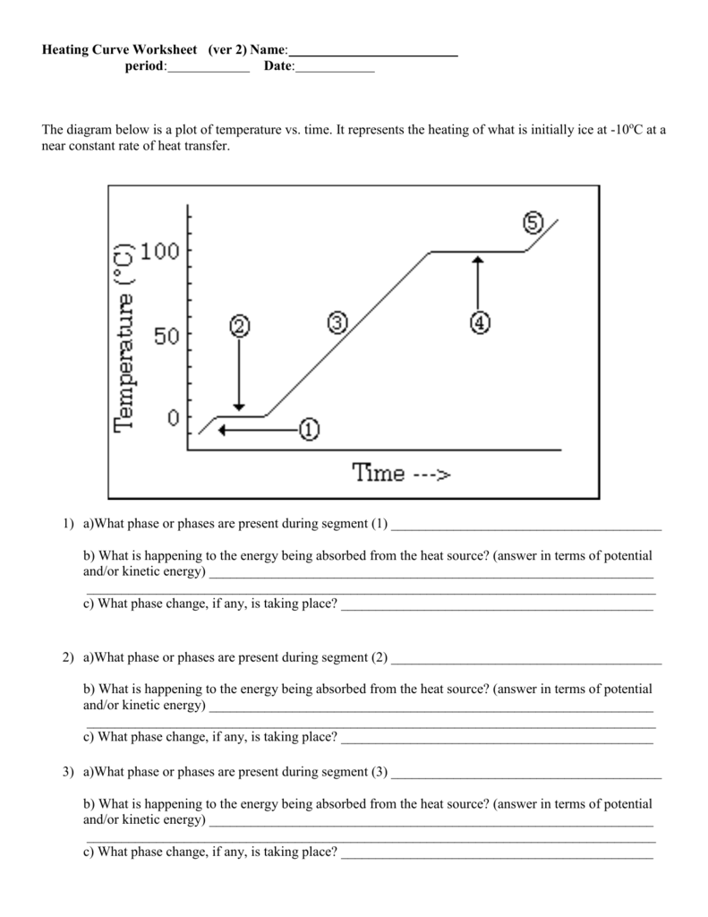 Heating Curve Worksheets Answers
