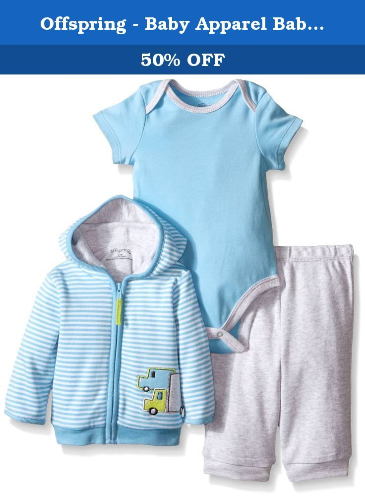 75f91f6da0f1 Offspring - Baby Apparel Baby Trucks 3 Piece Jacket Set, Blue Stripe ...