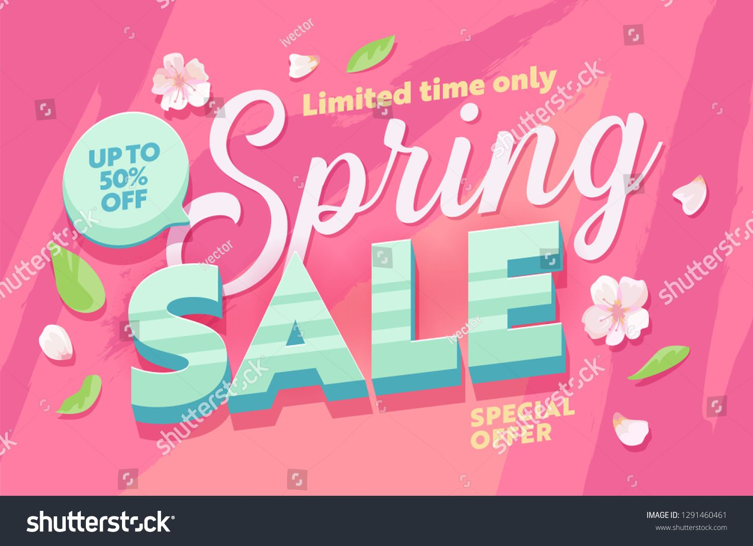 Spring Sale Abstract Flower Background Horizontal Banner. Promotion Discount Season Advertising Special Price Poster. Hot Deal Limited Offer Message Design Flat Vector Illustration ,