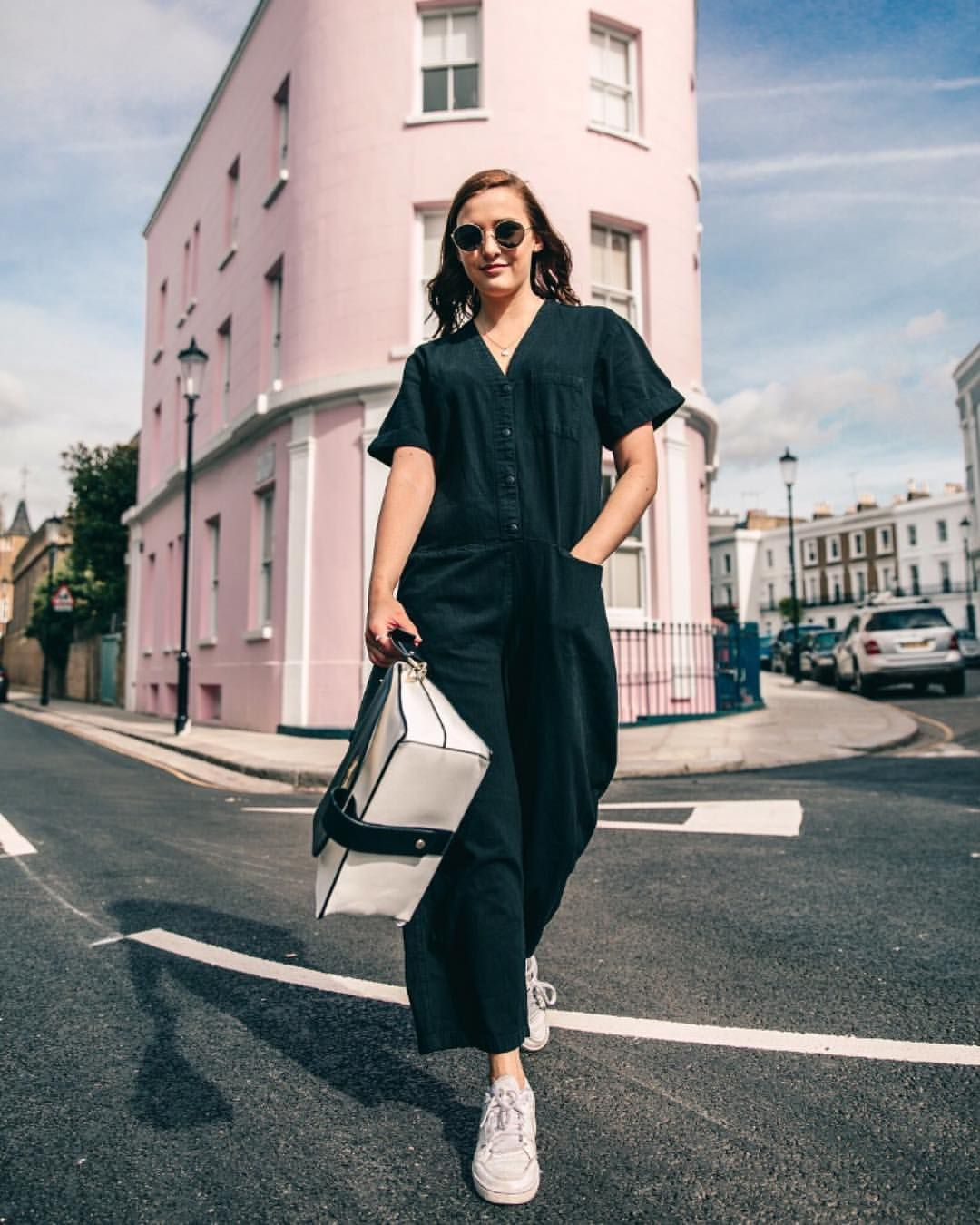 9dcdef1ad4c Lauren Rose 🌹 Street Style London Pink House Building Instagram Fashion  Blogger Outfit - wearing Monki jumpsuit ✨