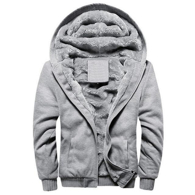 Sportwear Tracksuit Male Hoodies Jacket Men Winter Thick Warm Fleece Zipper Coat for Mens M Black