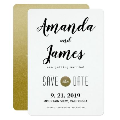 Elegant Modern Gold Wedding Save The Date Card  Formal Speacial