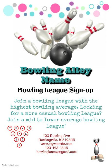 Poster Template Bowling League Event Flyers Sports Templates