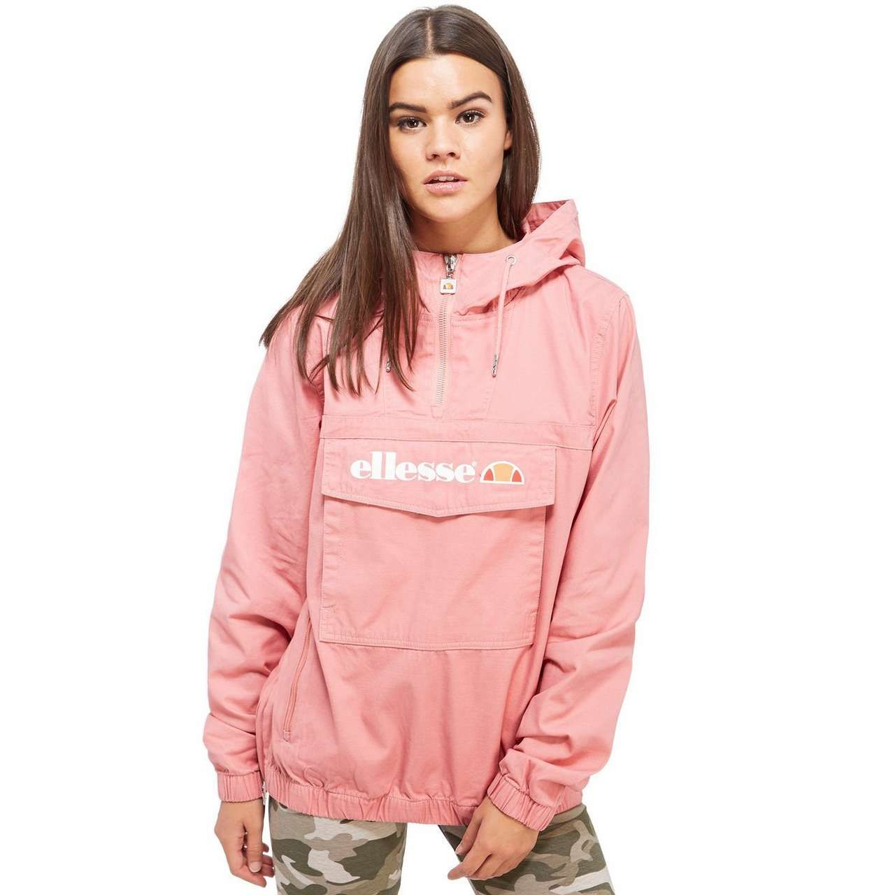 Ellesse Pullover Hooded Jacket With Half Zip And Logo On