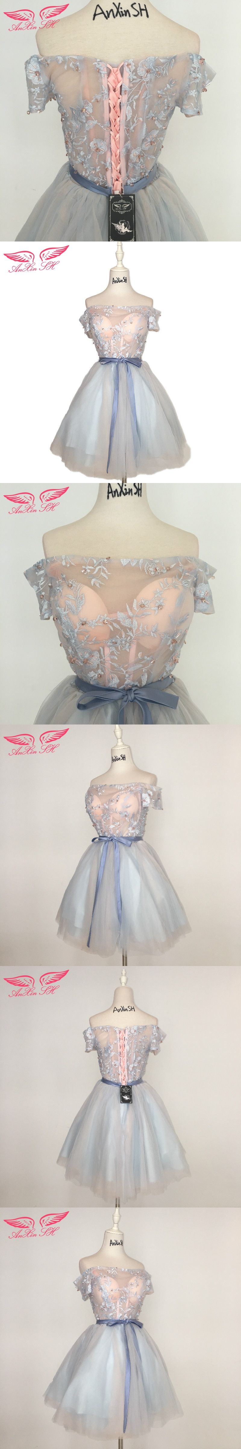 Anxin sh blue and pink lace bow evening dress beading flower short