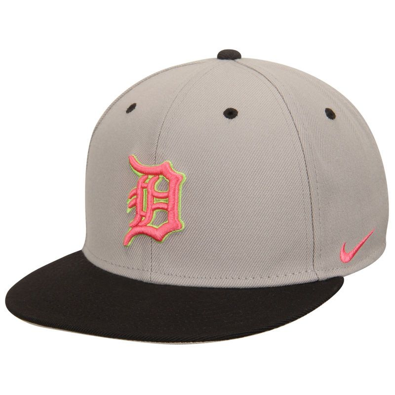 lowest price ff57a f50a9 Detroit Tigers Nike True Neon Logo Adjustable Hat - Gray Charcoal