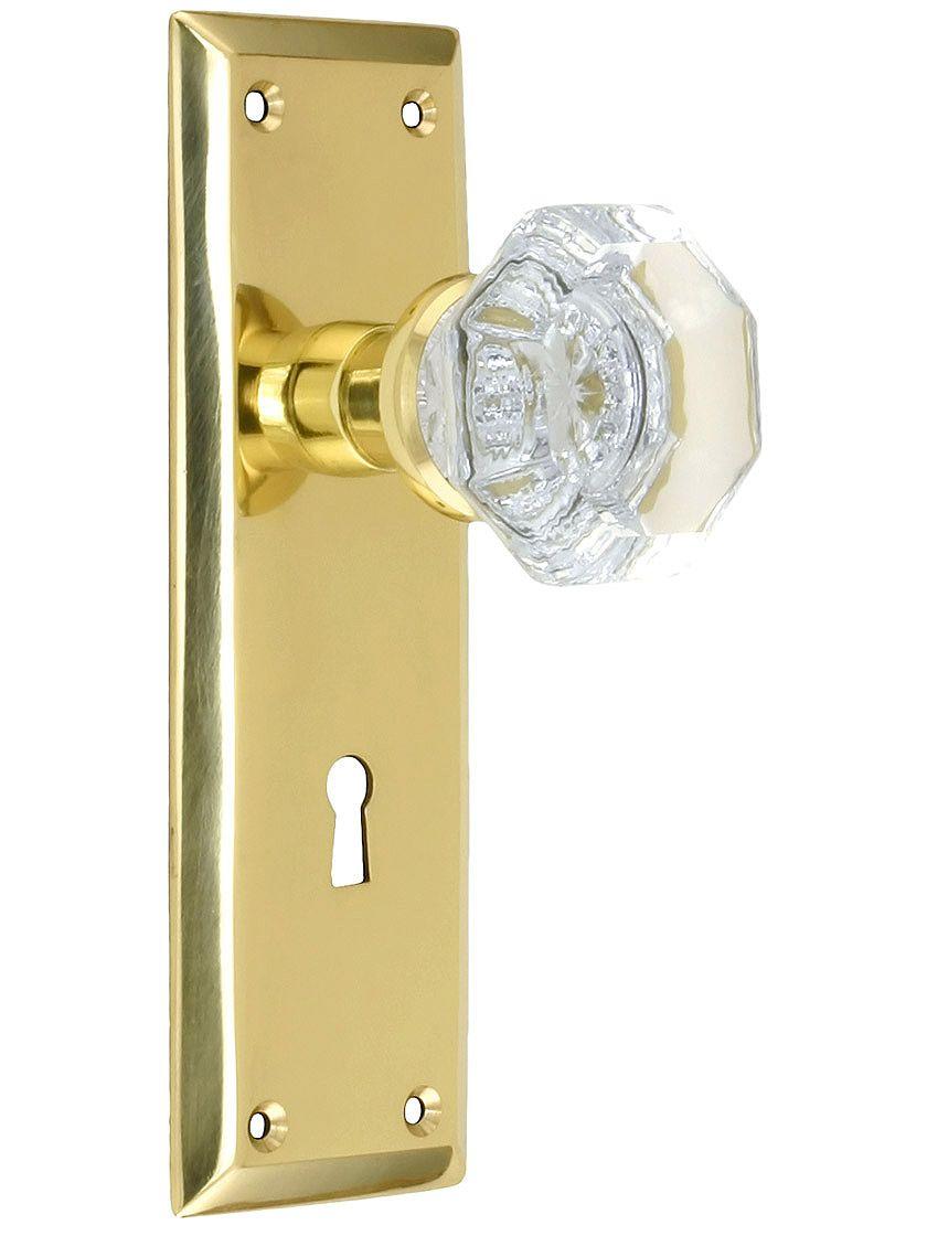 new york style door set with waldorf crystal glass door knobs