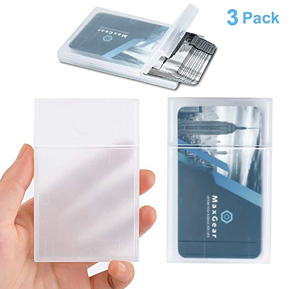 Amazon Com Maxgear Professional Plastic Business Card Holder Pocket Business Card Case Business Card Carrier Business Card Wallet Leather Business Card Case