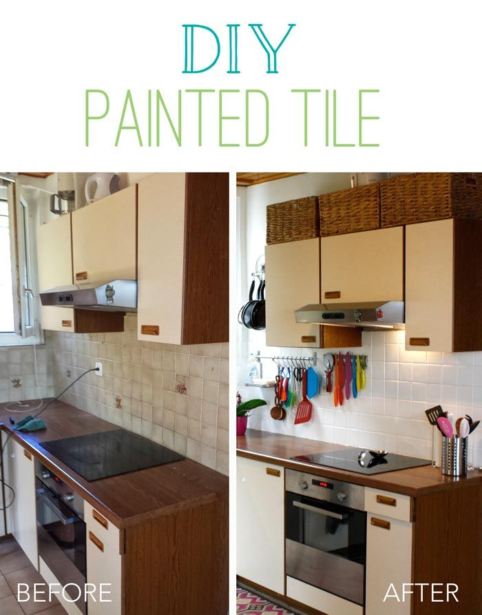 How To Paint Your Kitchen Tiles So Simple Diy Painted Tile Kitchen