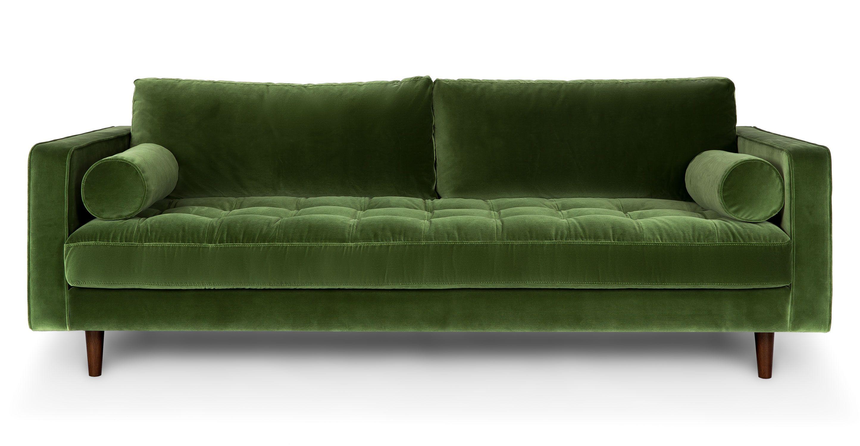 Green Velvet Tufted Sofa Upholstered