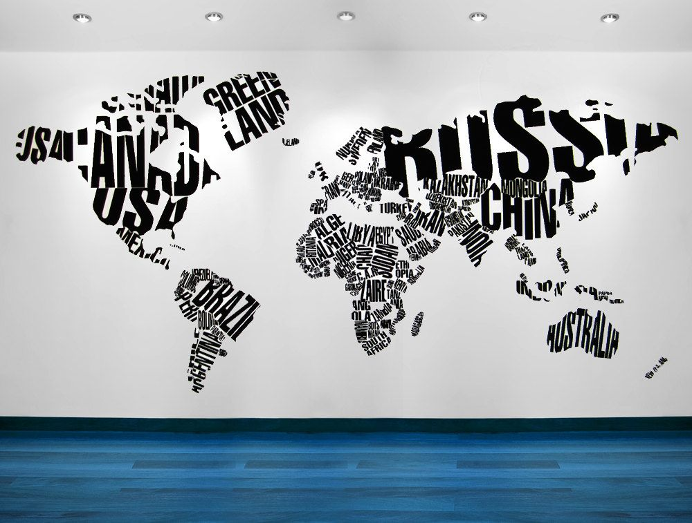 World map wall art world map decal world map wall decal world map world of words map contemporary mod vinyl decal wall art wall sticker wall decal wall decor office home decor 19500 via etsy gumiabroncs Image collections