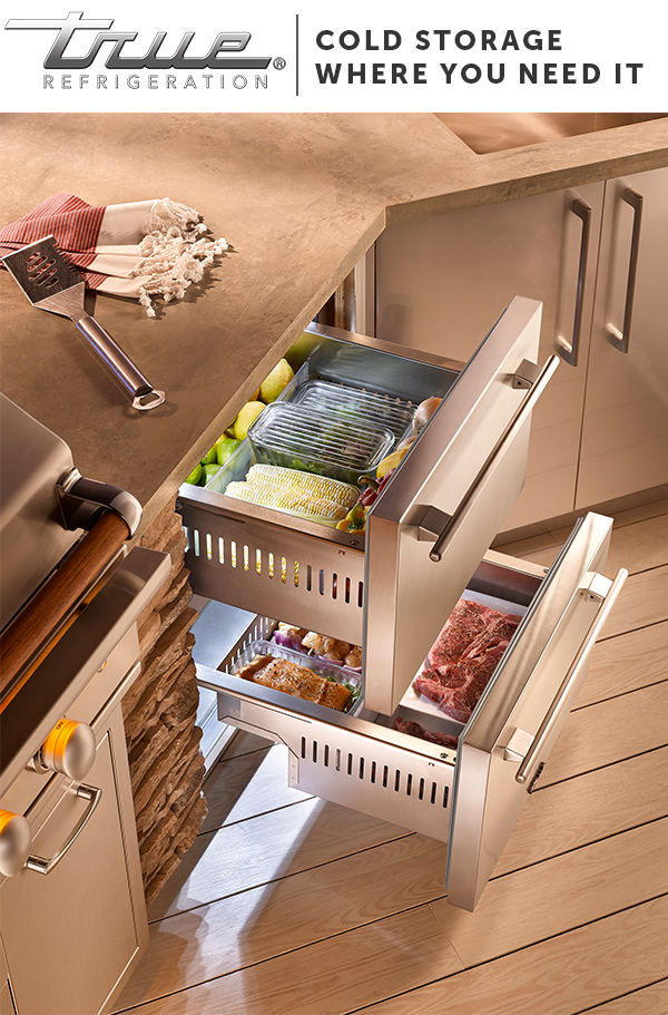 Review Outdoor entertaining hack Place True Refrigerator Drawers right next to the grill for cold storage Top Search - Inspirational outdoor kitchen refrigerator Lovely