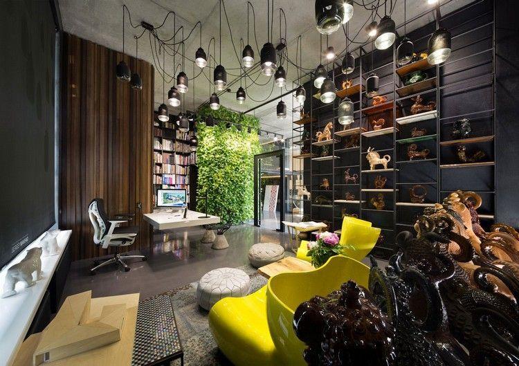 décoration bureau cosy avec parement bois massif carrelage en gr¨s