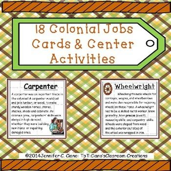 Colonial Jobs Cards | Worksheets, Social studies and ...