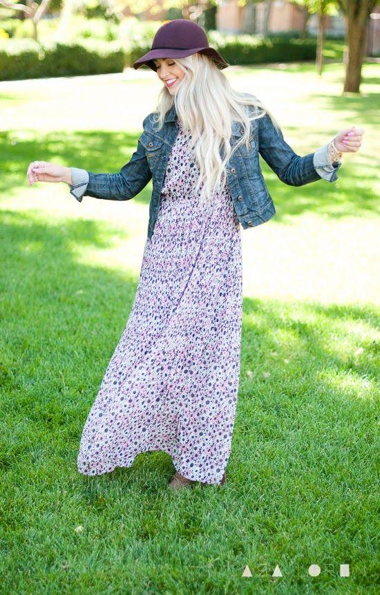 maxi dress + denim jacket + hat