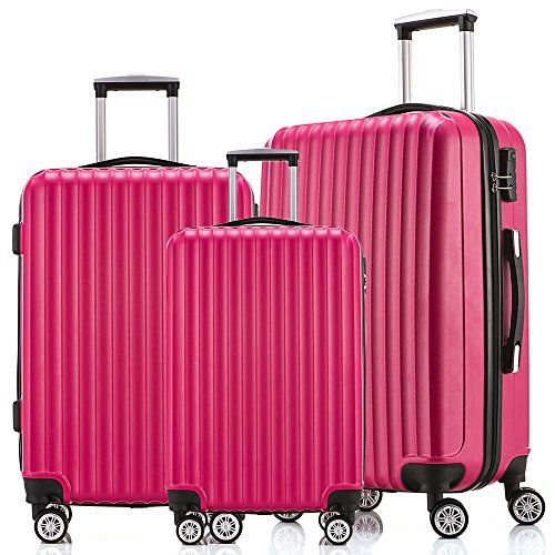 cb0571c0483b Fochier Luggage lightweight Spinner Set 3 Piece with 4 Double Wheels ...
