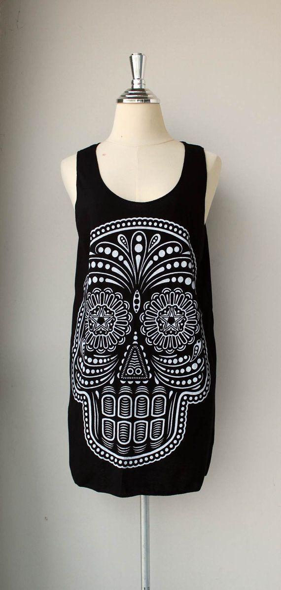 White Ancient Art Skull Print on Black Tank Top by Tshirt99 52968eec1c3