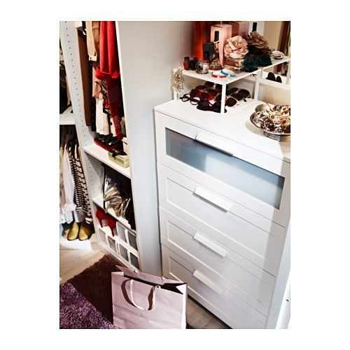 BRIMNES 4-drawer chest IKEA Smooth running drawers with pull-out stop. If you want to organize inside you can complement with SKUBB box, set...
