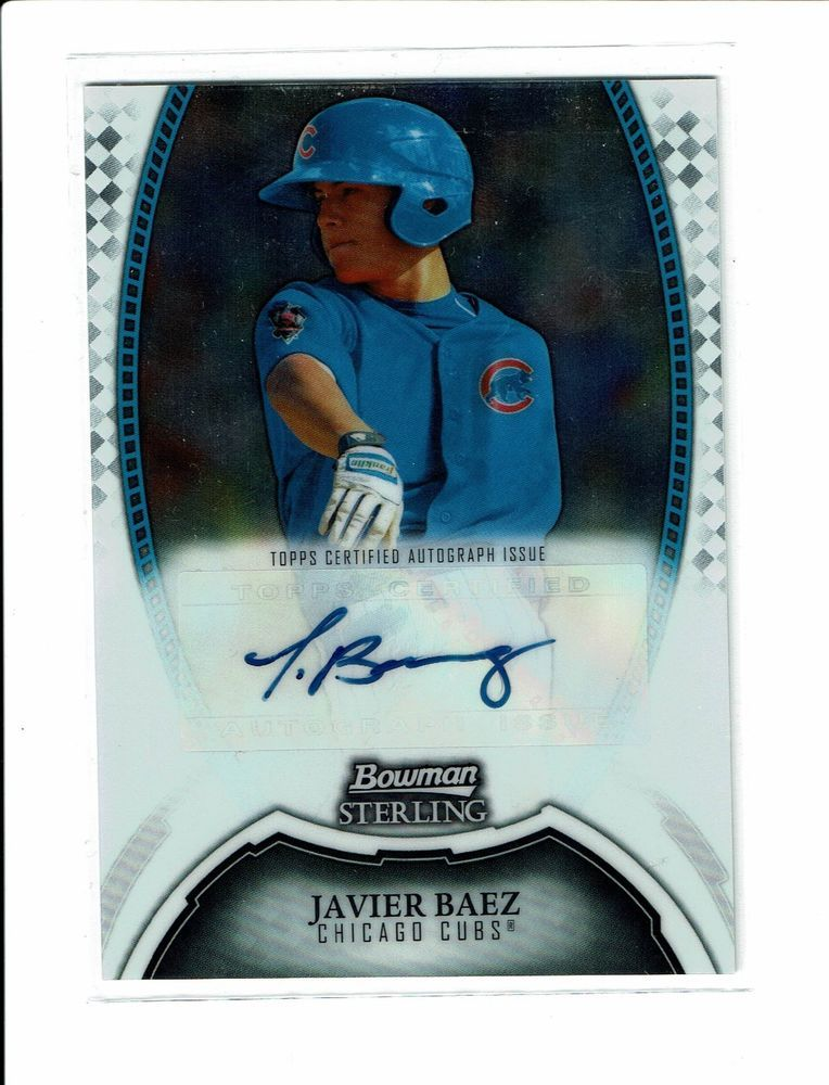 Javy Javier Baez Auto Signed Bowman Sterling Rookie Card Rc Chicago
