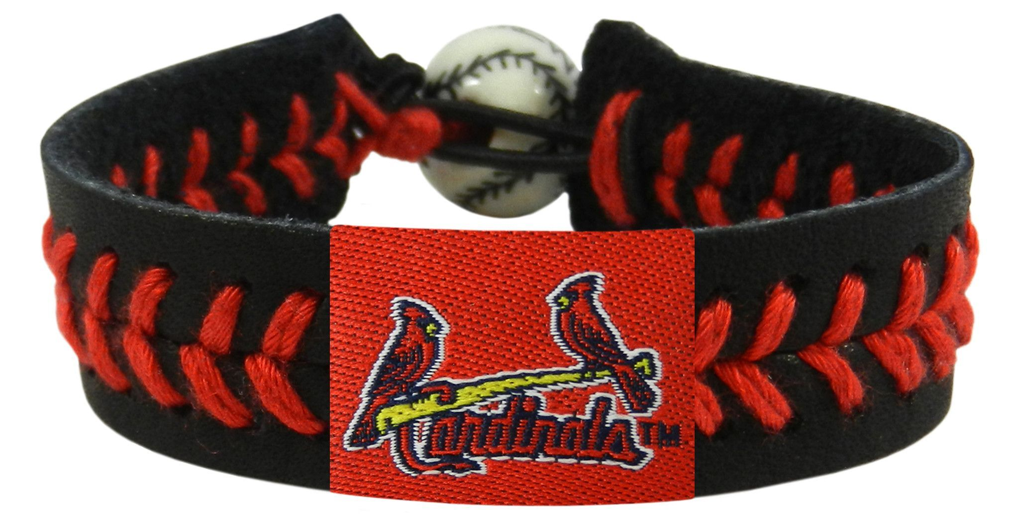 St Louis Cardinals Baseball Bracelet Black Band Red Stiches Birds Bat Logo