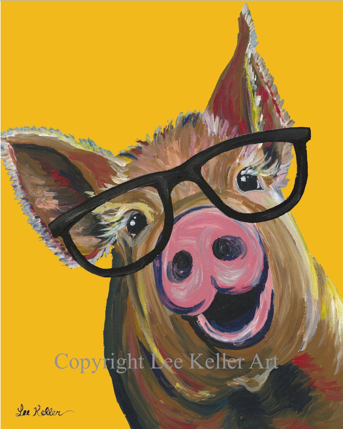 Pig art print colorful canvas pig art with glasses pig prints pig