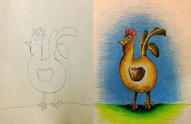 creative dad colours his kids drawings turns this bird into a bird with pride just look at that head and tail held high lovely
