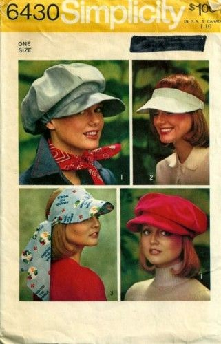 1970s Simplicity 6430 Newsboy Cap Hats and Visors Vintage Sewing Pattern  b641eef4c4e5