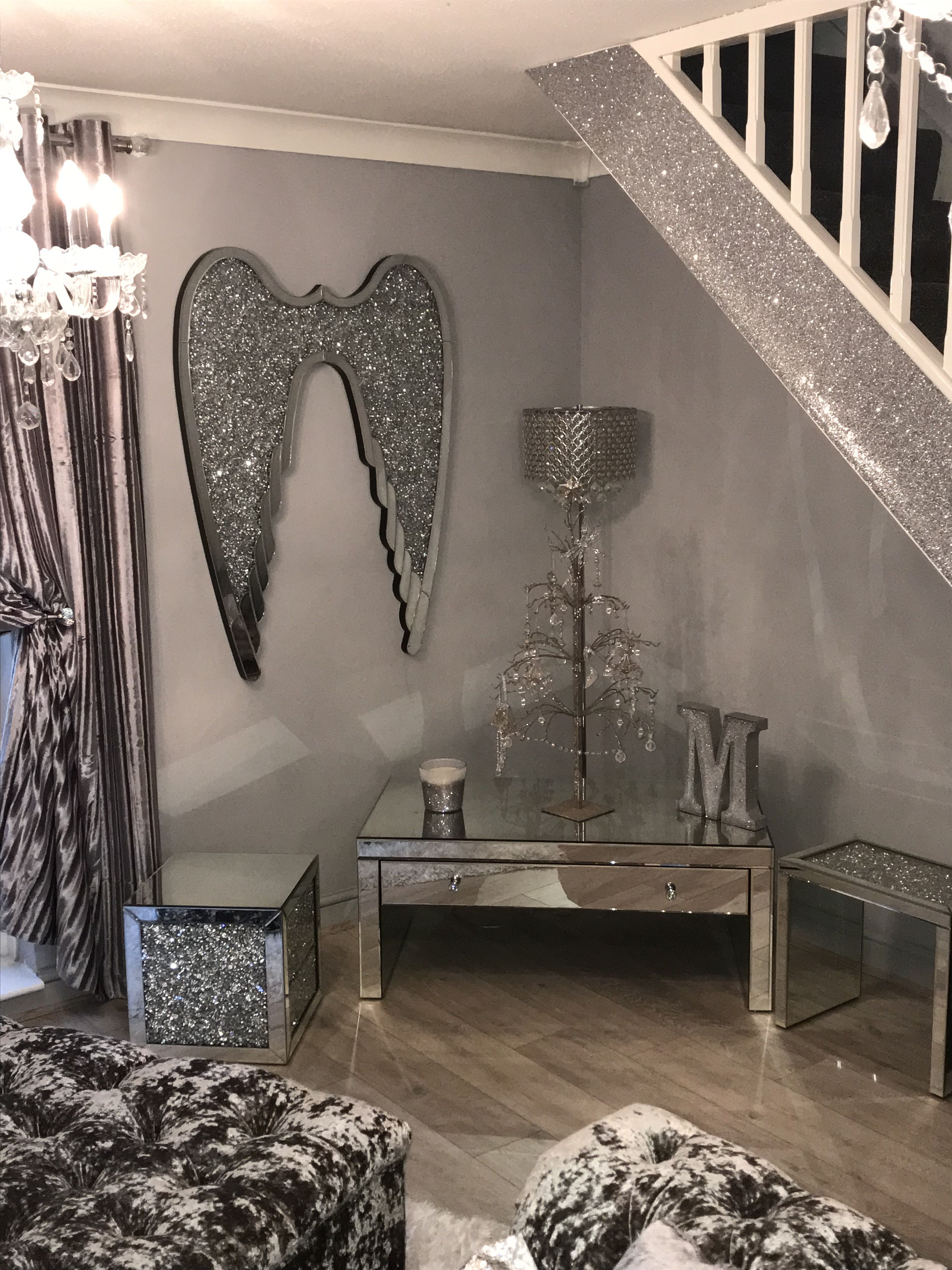 Beautiful Crush Diamond Angel Wings Wall Art Crushed Diamond