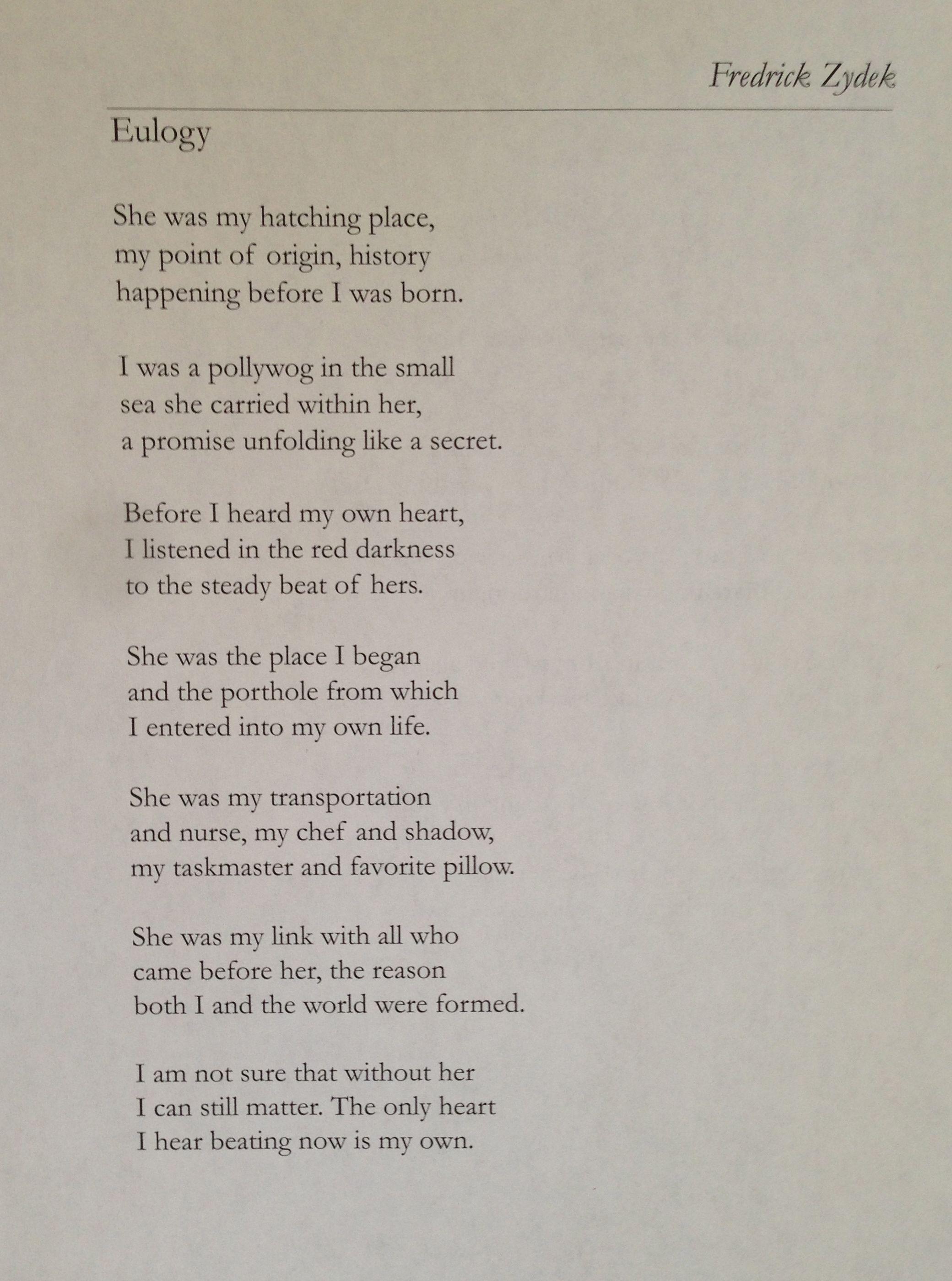 Eulogy by Fredrick Zydek Writings Pinterest