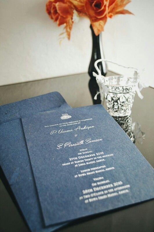 Modern Navy Simple Indian Urdu Muslim Wedding Invitation