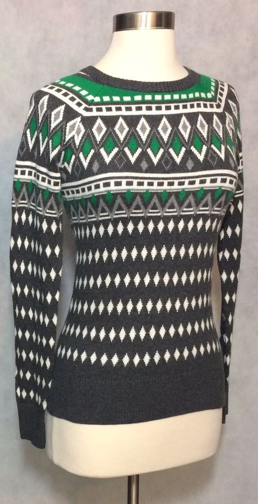 Merona Green Gray Fair Isle Nordic Print Long Sleeve Sweater ...