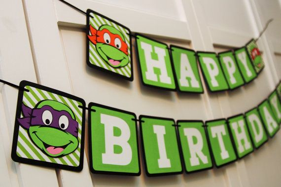 Teenage Mutant Ninja Turtle Inspired Happy Birthday Banner Etsy Ninja Turtles Birthday Party Teenage Mutant Ninja Turtles Birthday Party Turtle Birthday Parties