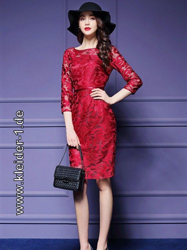 Elegantes Sommerkleid Cocktailkleid mit Blumen Spitze in Rot | Rote ...