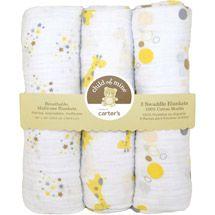 Walmart: Child of Mine by Carter's Treetop Friends 3-Pack Muslin Swaddle Blankets