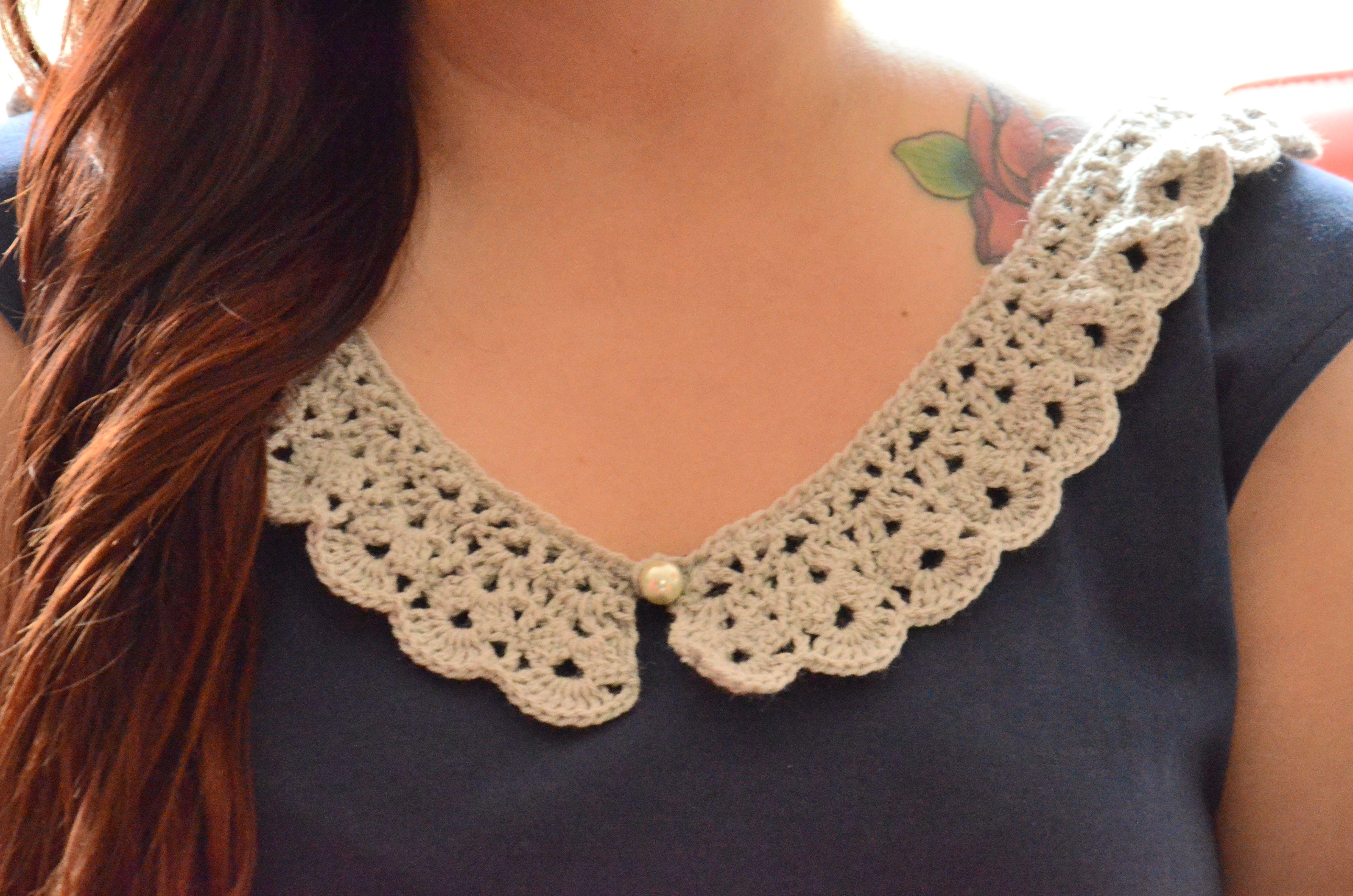 Cuello crochet para decorar blusa.