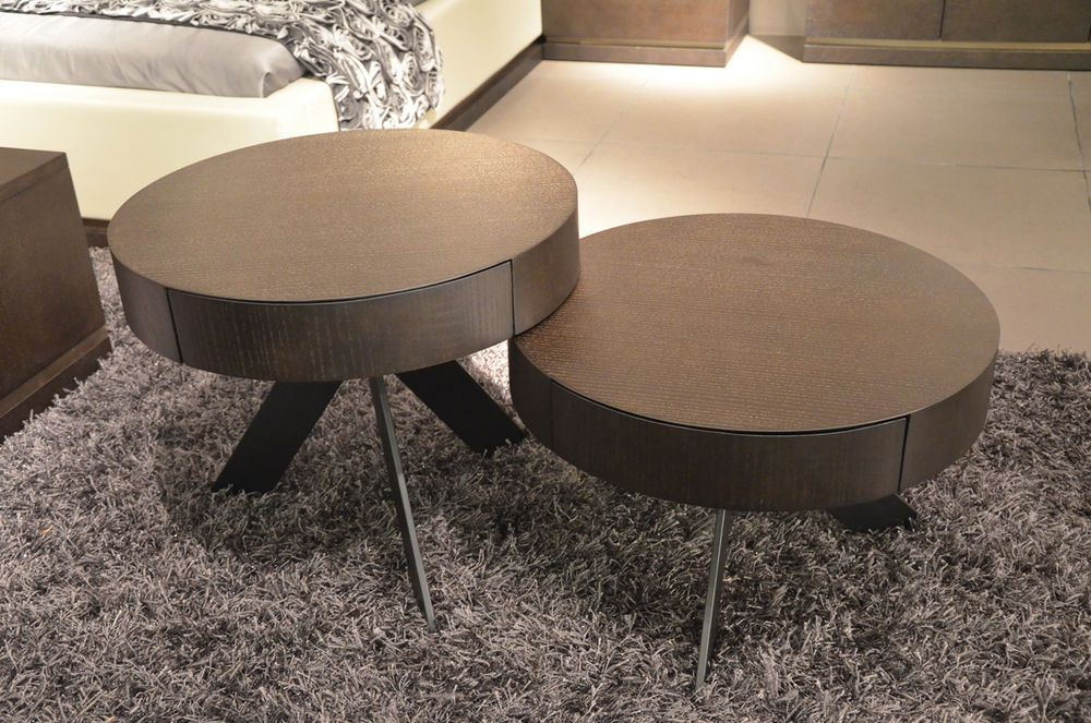 Ecletic Coffee Table Set 2 Round Tables 1 Pull Out Drawer Each Table