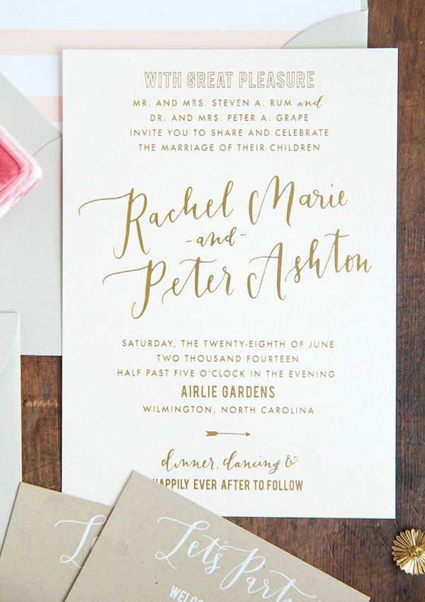 Gold Foil and Calligraphy Wedding Invitations Beautiful Svadba