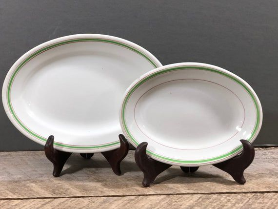 Vintage Pair of Restaurant Oval Dishes, Grindley Hotel Ware Platter, Made in England, Mercer Hotel W #dishware