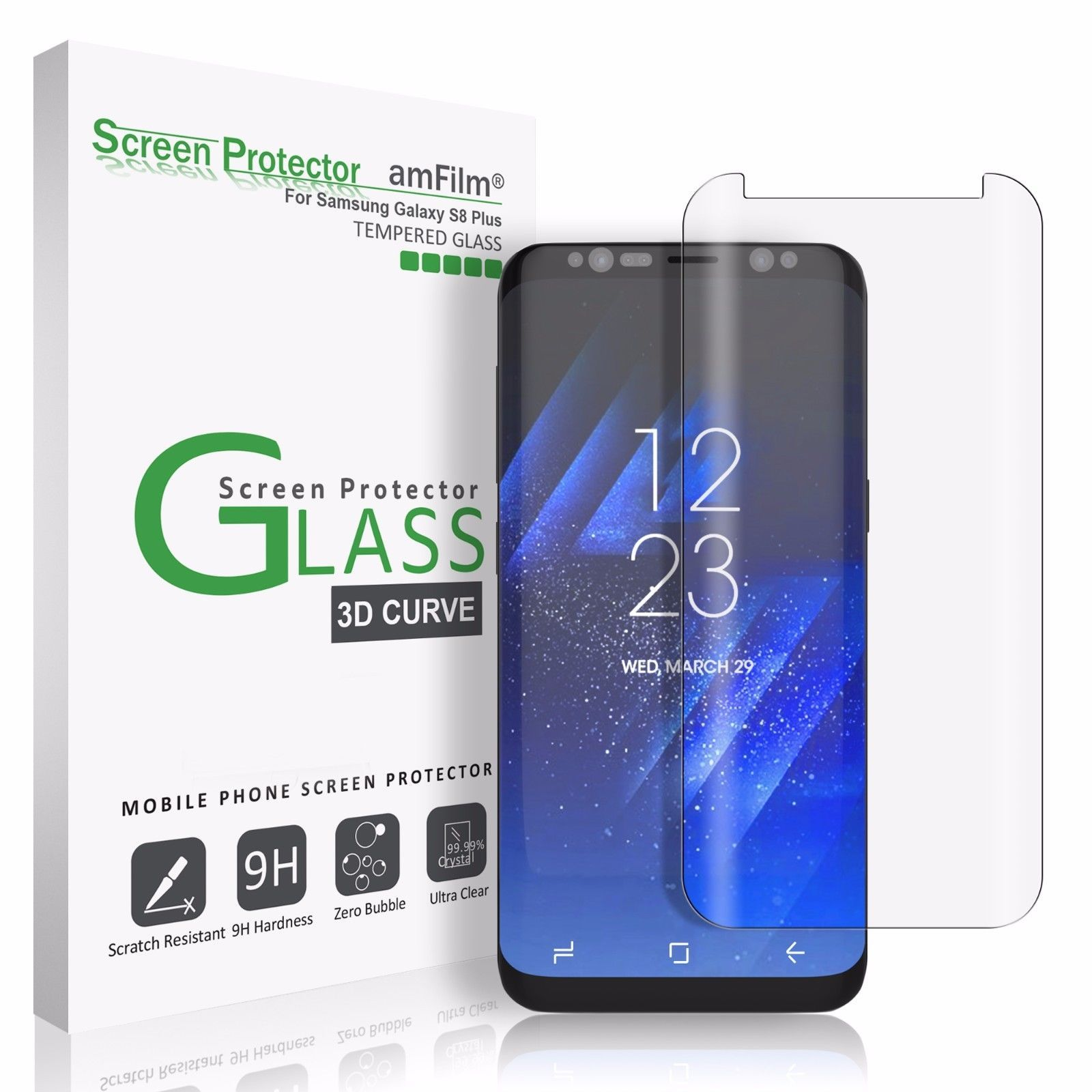 $10 99 Samsung Galaxy S8 Plus Amfilm Full Cover Tempered Glass Screen Protector Clear