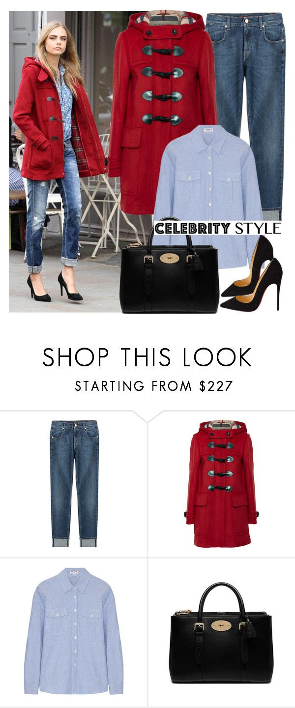 """""""Cara Delevigne Style"""" by fashionqueengirl ❤ liked on Polyvore featuring 7 For All Mankind, Burberry, Frame Denim, Mulberry and Christian Louboutin"""
