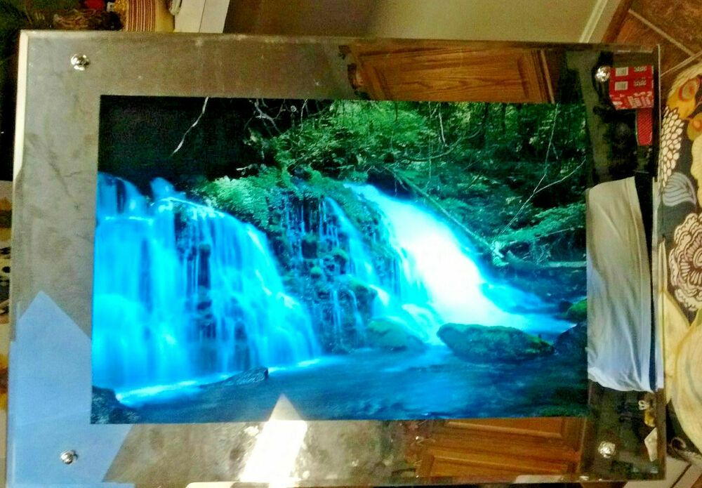 26 Waterfall Moving Sound Light Mirror Frame Picture Nature Decor Home Wall Art Home Realism Nature Decor Home Wall Art Mirror With Lights