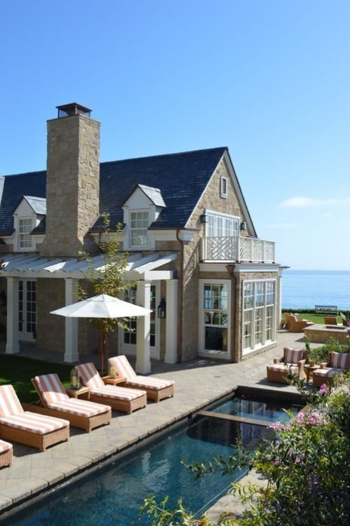 Classic East Coast-style home and lap pool overlooking the ocean