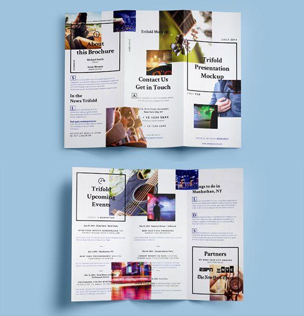 40 Best Free Tri-Fold / 3 Panel Brochure Mockup PSD Files