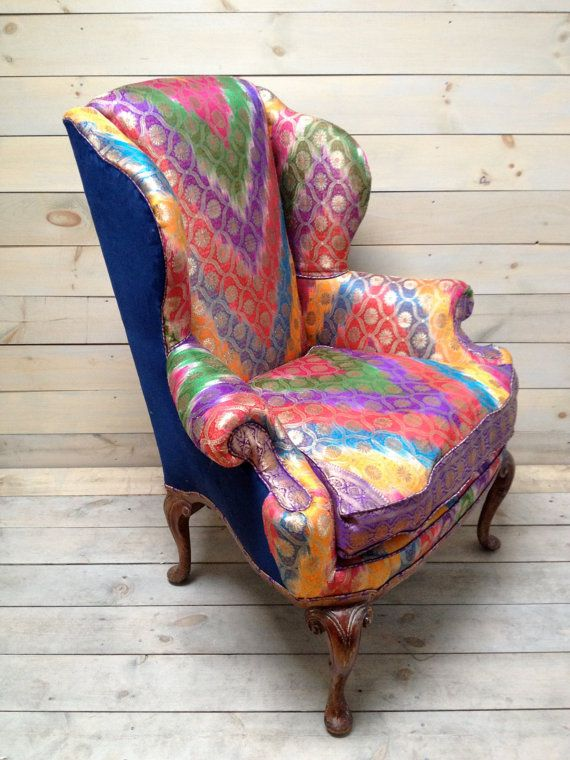 Merveilleux Wingback Armchair Upholstered In Antique Sari By Chezboheme, $1600.00