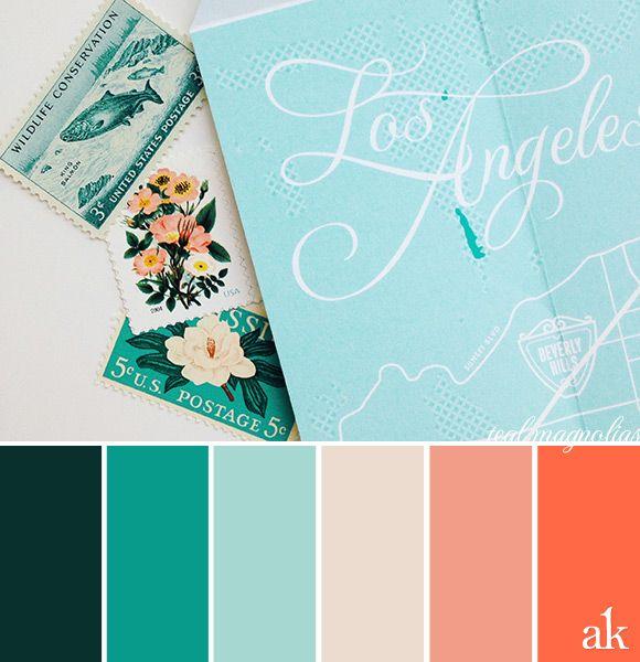 a vintage-stamp-inspired color palette // baby blue, aqua, sand