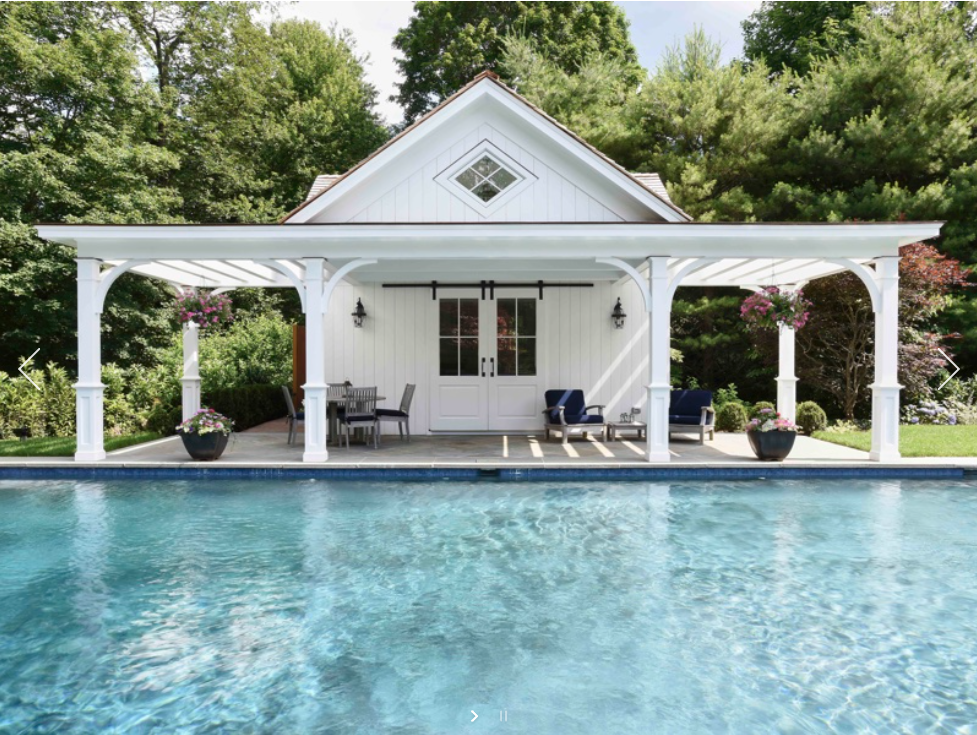 Poolhouse With Covered Lounge Area Pool Houses Pool House Shed Small Pool Houses