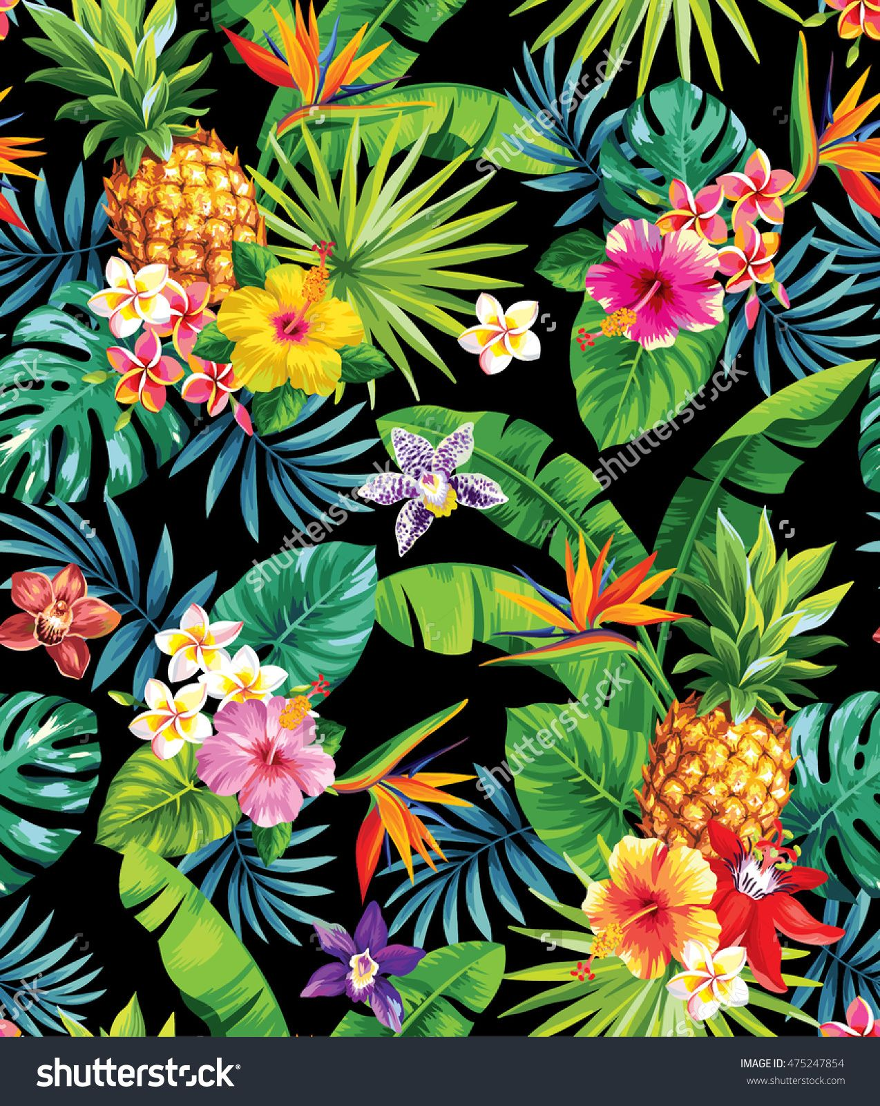 Seamless tropical pattern with pineapples palm leaves and flowers