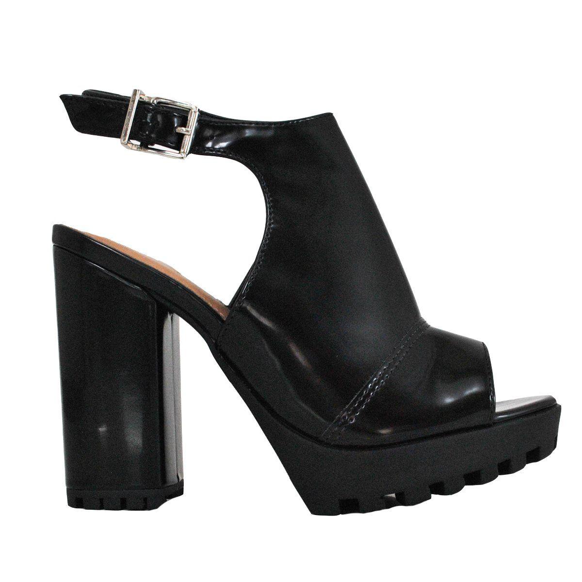 Compre online Sandália Preta com salto grosso e alto da marca Via Marte  17-10803  87f92bbb08af9