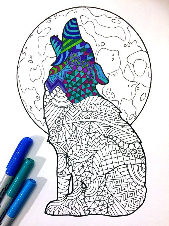 Howling Wolf - PDF Zentangle Coloring Page | Coloring ...